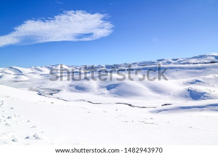 Magnificent postcards of snow landscapes, snowy city and snowy mountains. #1482943970