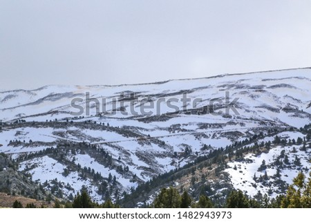 Magnificent postcards of snow landscapes, snowy city and snowy mountains. #1482943973