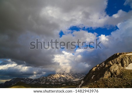 Magnificent postcards of snow landscapes, snowy city and snowy mountains. #1482943976