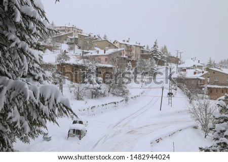 Magnificent postcards of snow landscapes, snowy city and snowy mountains. #1482944024