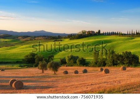 Shutterstock Magnificent spring landscape at sunrise.Beautiful view of typical farm house, green wave hills, cypresses trees, hay bales, olive trees, beautiful golden fields and meadows.Italy, Europe