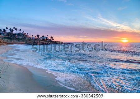Magnificent sunset on the beach in La Jolla California
