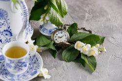 Magnificent tea service. Green tea with jasmine.