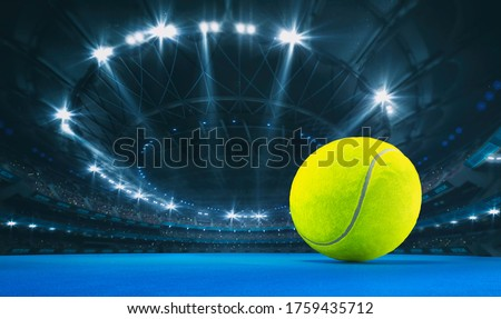 Magnificent tennis arena with a tennis ball on a blue artificial floor with spectators on the grandstand. Professional world sport 3D illustration background. Сток-фото ©