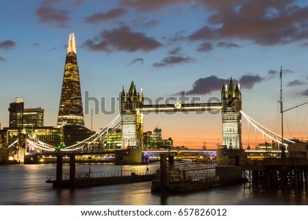 Magnificent view of Tower Bridge, the Shard and the River Thames at night, London, Uk.