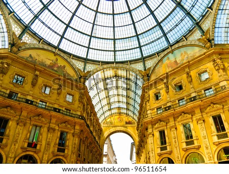 Magnificent Vittorio Emmanuele gallery interior with glass-vault, Milan, Italy