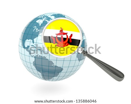Magnified flag of brunei with blue globe isolated on white