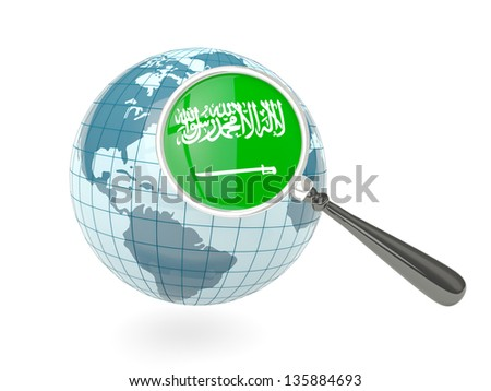 Magnified flag of saudi arabia with blue globe isolated on white