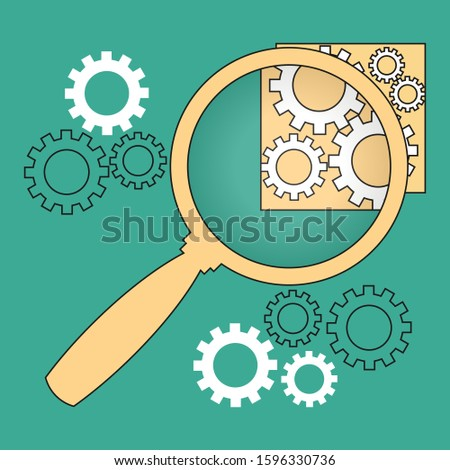Magnifier and cog wheels on greenish background. Technical composition, symbol, emblem, icon, sign