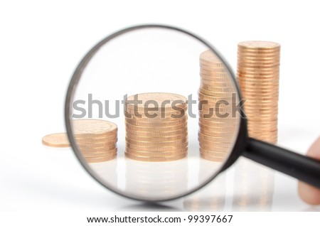 Magnifier and coins