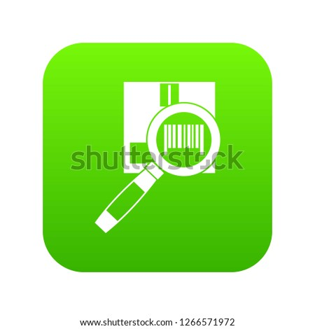 Magnifier and diskette icon digital green for any design isolated on white illustration