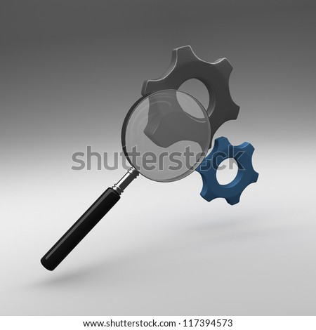 Magnifier and gears