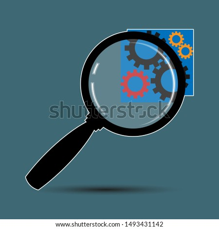 Magnifier and gears. Technical composition, symbol, emblem, icon, sign