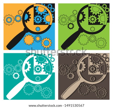 Magnifier and gears. Technical composition, symbol, emblem, icon, sign. Four versions of one picture