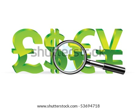 Magnifier and sign of pound, dollar, euro and yen. Abstract finance symbol