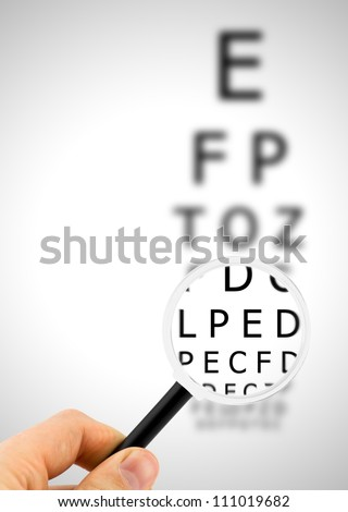 Magnifier focuses eye chart letters clearly and shown blurred in the background
