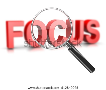 Magnifier Glass Focused on a Blurry Focus Red Text 3D Illustration on White