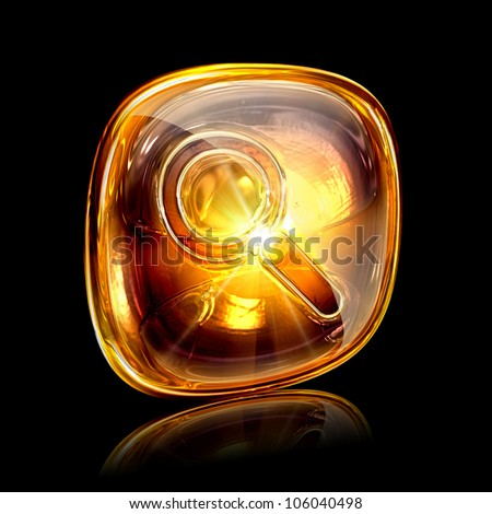 magnifier icon amber, isolated on black background
