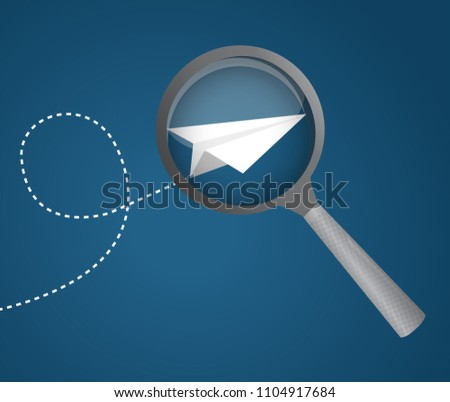 magnifier icon with a paper plane. Vector Illustration. isolated over a blue background