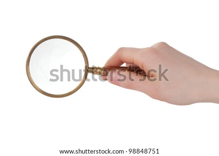 Magnifier in hand isolated on white background