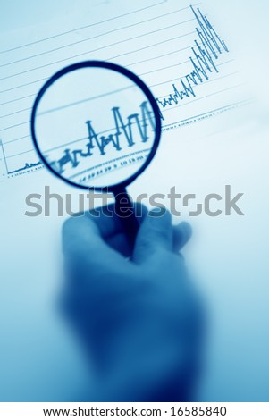 magnifier in men hand isolated