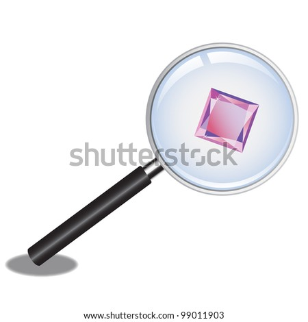 Magnifier Inspecting Pink Gem - stock photo