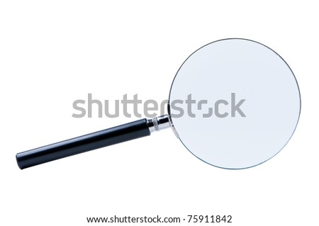 Magnifier isolated on white background.