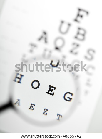 Magnifier over eye chart revealing blurry text - medical concept