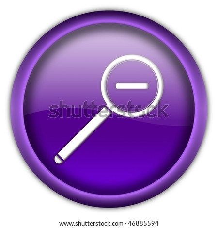 Magnifier round glossy button isolated over white background