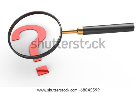 Magnifier with a red question mark. Isolated white background