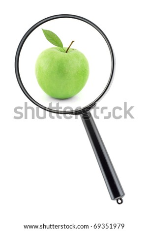 Magnifier with apple inside on white background