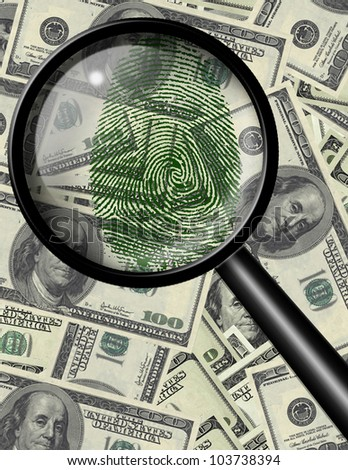 Magnify glass and green fingerprint on US currency
