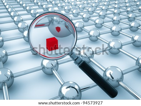 magnify glass searching a cube inside network cubes