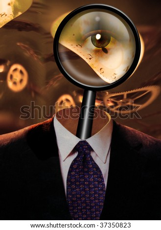 Magnify Glass with eye and clock workings