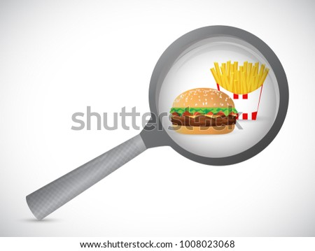 magnify over burger and fries concept illustration design isolated over white