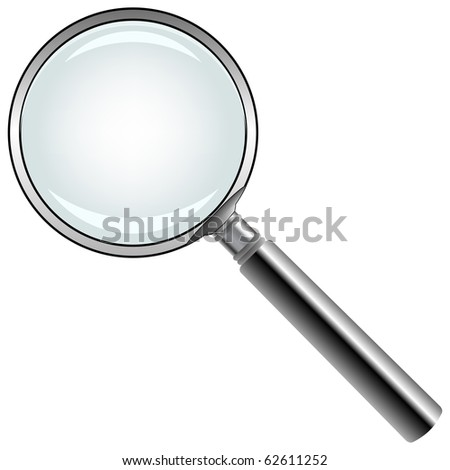 magnifying glass against white background, abstract art illustration; for vector format please visit my gallery
