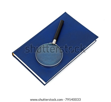 Magnifying glass and book isolated on white background