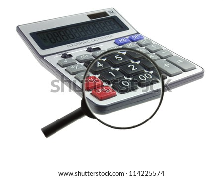 Magnifying glass and calculator on a white background