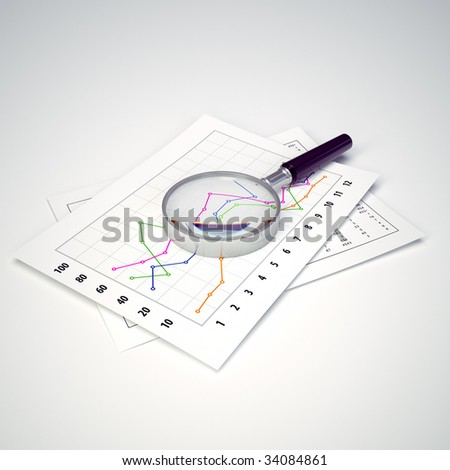 magnifying glass and charts - stock photo