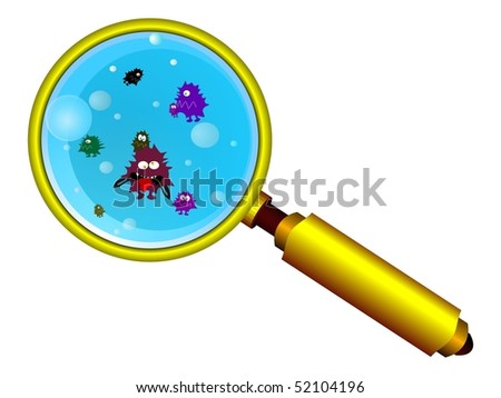 Magnifying glass and funny germs