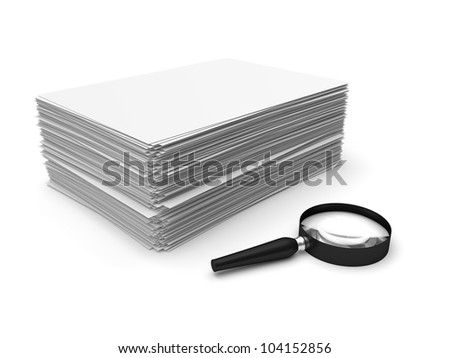 Magnifying glass and paper sheets isolated on white background
