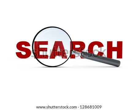 Magnifying glass and red search text, isolated on white background.