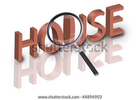magnifying glass enlarging part of 3D word house in red with reflections