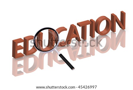 Magnifying glass enlarging part of red 3D word with reflection education button education icon learning knowledge school university