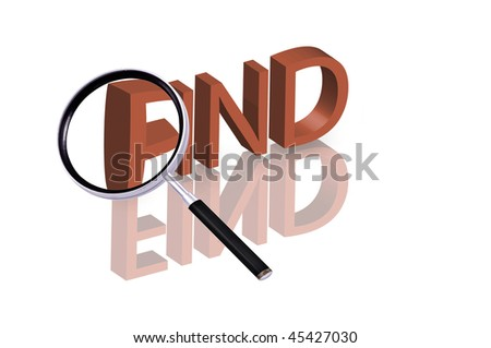 "Magnifying glass enlarging part of red 3D word with reflection ""find button search button find icon"