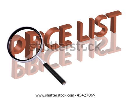 Magnifying glass enlarging part of red 3D word with reflection price list price button price icon