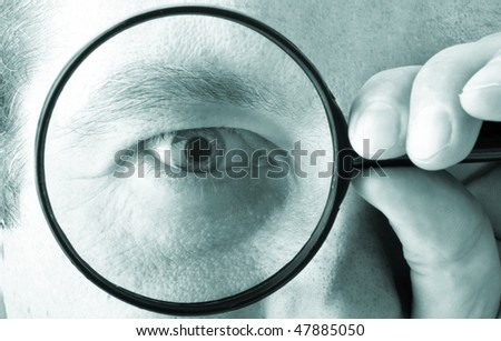 Magnifying glass, eye