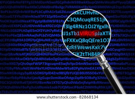 Magnifying glass focused on virus in middle of digital code