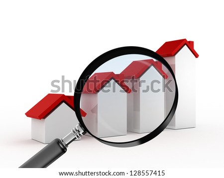 Magnifying glass focusing on real estate, graph bars of houses with red roof, searching or analyzing sales of houses, isolated on white background.