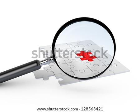 Magnifying glass focusing on red jigsaw puzzle piece, different from others, isolated on white background.